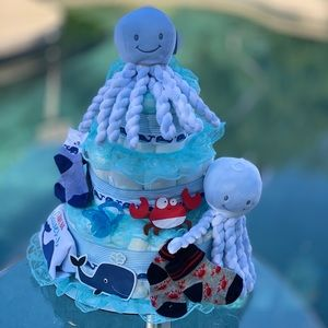 Octopus Diaper Cake, Twins Diaper Cake
